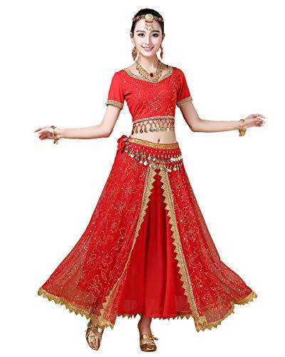 Grouptap Bollywood Lehenga Choli indische Frauen Anarkali Saree Damen Hochzeit Designer Tanz Bluse Kleid rot Lengha Kostüm (Rot, 152-172 cm, 45-70 kg)