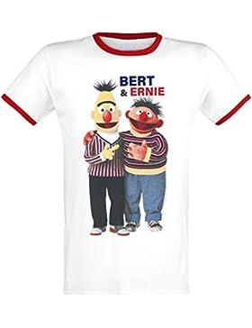 Sesame Street Barrio Sesamo Ernie & Bert Camiseta Blanco-Rojo L