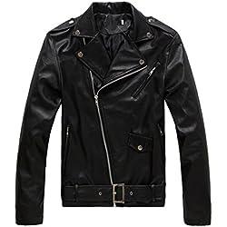 Chaqueta Hombre De Cuero PU chaqueta de motociclista con cremallera cazadoras L Negro
