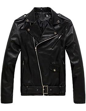Chaqueta Hombre De Cuero PU chaqueta de motociclista con cremallera cazadoras