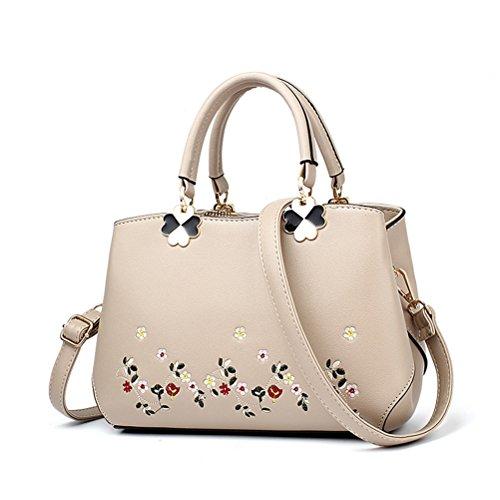 Hhgold borsa a tracolla da donna in pelle grande borsa a mano capiente elegante borsa monospalla ufficio moda ricamata (colore : cachi, dimensione : taglia unica)
