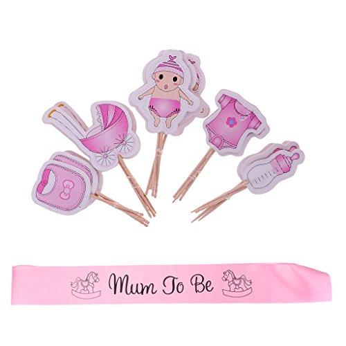 perfk Mama Rosa Schärpe Baby Shower Party 20 Stücke Baby Mädchen Kuchen Cupcake Picks