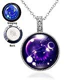 YinXX Sternenhimmel Universum - Zwölf Leuchtende Halskette mit Konstellation,Handgemachte Glas Anhänger Halskette, Besonderes Geschenk Für Mädchen,Leo