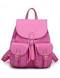 Alice New Women Leather Backpacks Students School bags for Girls Teenagers  Travel Rucksack Black Color Small Shoulder Bag Women… 909e87d8ad