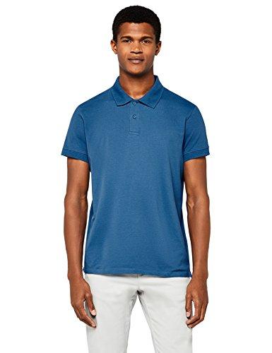 MERAKI Herren Poloshirt Aus Baumwolle, Blau (Blue), Medium - Strukturierte Baumwolle Shirt