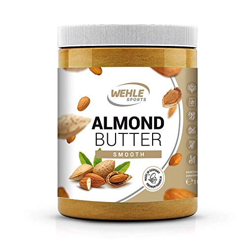 Mandelbutter 1kg - Premium Mandelmus - Wehle Sports Almond Butter natürliches Nussmus veganer/ vegetarischer Brotaufstrich für Smoothies, Backen, Snack (Smooth, 1kg)