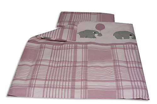 Baby Bettwäsche Baumwolle 100x135cm rosa - Elefant Karo OekoTex