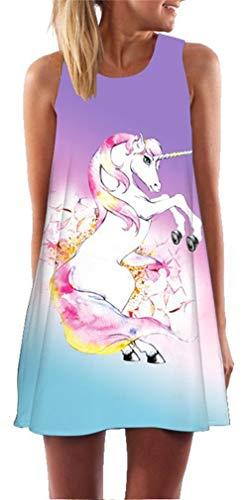 Einhorn Kostüm Damen Kleid - Ocean Plus Damen Sommer Ärmellos Bunt
