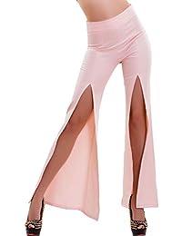 af89e09535cb8a Toocool - Pantaloni donna campana vita alta zampa elefante spacchi hot sexy  nuovi CJ-2573