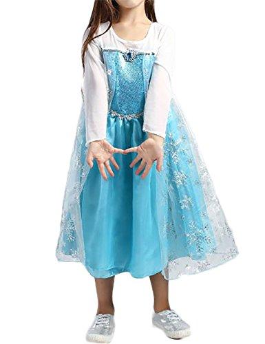 Ninimour Mächen Eiskönigin Eiskönigin Prinzessin Cosplay Fasching Kostüm Tutu Kleid 3-8 Jahre Alt (130, Y-Blau) (Kostüm Disney Elsa)
