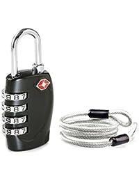 Aspen TSA Candado Combinacion Seguridad Maleta Equipaje Taquilla Candados Viaje Taquilla Lock eeuu con Cable de Bloque
