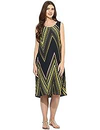 Mine4nine maternity women's Olive Cheveron print dress