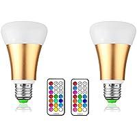 LemonBest® 10W E27 RGBW LED di colore cambia lampadina, 12 multicolore LED dimmerabili Illuminazione di umore, 21 Chiave a distanza e l'interruttore della parete di controllo, di qualità Premium e lampade a risparmio energetico, CA 85-265V, Confezione da 2X [Classe energetica A]