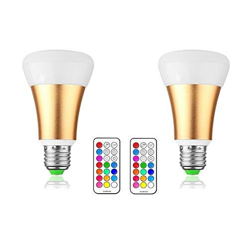 LemonBest® 10W E27 RGBW LED Changement de couleur Ampoule, 12 Multicolore Dimmable LED Éclairage d'humeur, 21 clés Commande à distance et interrupteur mural, qualité supérieure et lampes à économie d'énergie, AC 85-265V, Pack de 2X [Classe énergétique A]