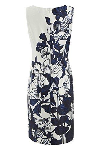 Roman Originals Femme Robe Satinée Floral Tailles 38-50 Bleu Bleu