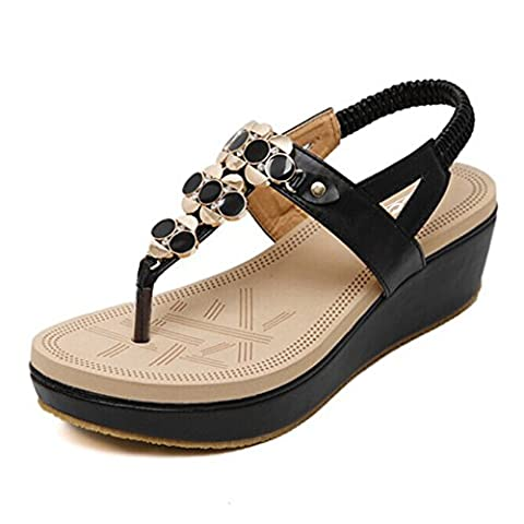 Women's Round Peep Clip Toe Wedge Heel Elastic T-Strap Metal Buckle Rhinestone Bohemia Roman Sandals Summer Beach Post Sandals Flip Flops Shoes Thongs (UK 6(Asia 40),