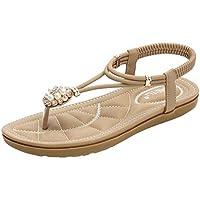 BIBOKAOKE Sandals Mujer Beach Shoes Chanclas Sandalias Flat con Cuentas Comodas Estilo Bohemia Verano Zapatillas