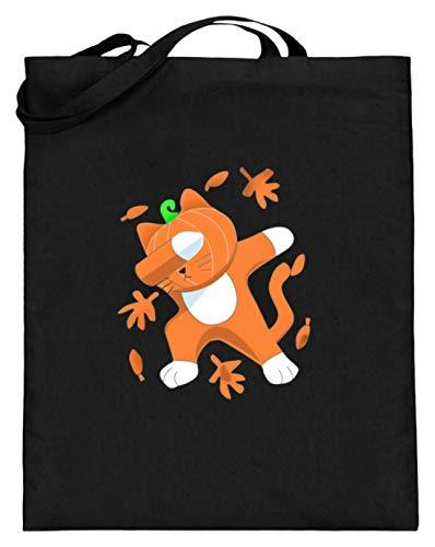 Dabbing Katze Mit Kürbis-Kopf Cat Pumpkin Halloween - Schlichtes Und Witziges Design - Jutebeutel (mit langen Henkeln)