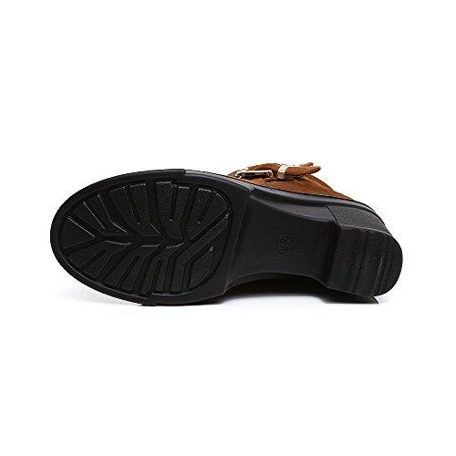 AgooLar Damen Rund Zehe Reißverschluss Niedrig-Spitze Mattglasbirne Stiefel mit Metallisch Braun