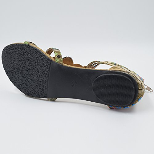 Azbro Women Boho Bejeweled Ankle Straps Buckled Summer Flat Sandals Burgundy