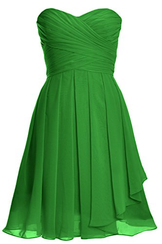 MACloth Women Strapless Lace up Short Bridesmaid Dress Cocktail Party Gown (34, Green)
