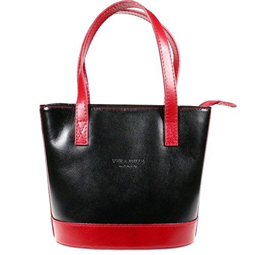 Vera Pelle, Borsa a spalla donna Standard Black/Red
