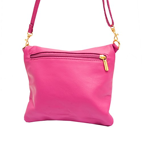 Borse a spalla ,Porchette, Minibag (21/ 17/ 3 cm)in pelle Mod. 2062 by Fashion-Formel Rosa