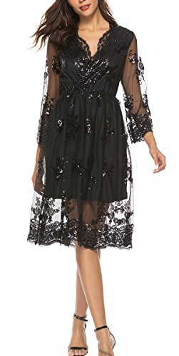 Ufatansy Damen Sommerkleider Spitze Lange Ärmel Schulterfreies Kleid Weißes Strandkleid Swing Boho Kleid (P-Black, XL)