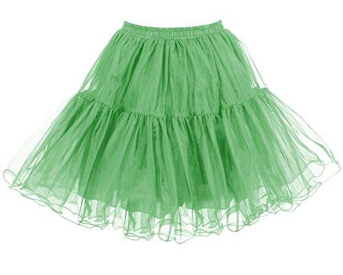 Bridesmay Donna 50s Vintage Sottoveste Rete Sottogonna Retro Breve Tutu Gonne Green