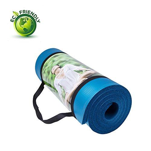 QUBABOBO Colchonetas de Yoga 15mm Gruesa Antideslizante Esterilla para Ejercicio Pilates Fitness Workout y Gimnasia con bolsa de transporte y correa