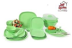 Joy Home Microwave Safe Dinner Set-32 pcs Square Green