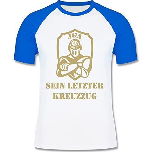 JGA Junggesellenabschied - Sein letzter Kreuzzug - zweifarbiges Baseballshirt für Männer Weiß/Royalblau