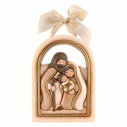 Thun® - formella grande sacra famiglia - natività da appendere con fiocco bianco - ceramica - i classici