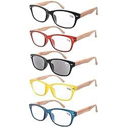 Eyekepper 5-Pack Bisagras de resorte de madera impresos brazos gafas de lectura