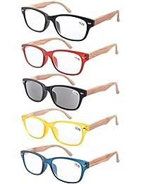 Eyekepper pack de 5 primavera bisagra vetas de madera impresos brazos gafas de lectura 2.75
