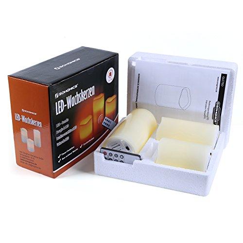 Songmics Pack de 3 velas de LED decorativas con mando a distancia y temporizador Alto de 10/12,5/15 cm Color marfil GLC75D