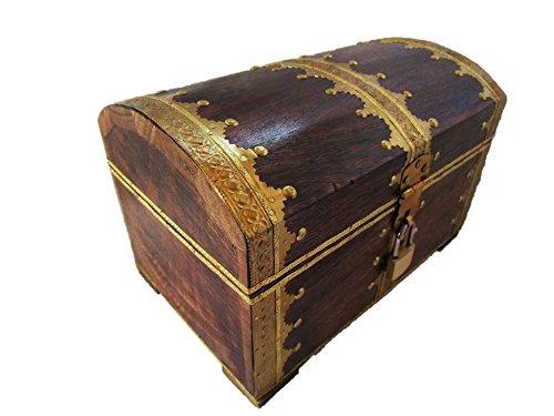 Schatztruhe Holz mit Vorhängeschloss, ideales Geschenk, 24x17x17cm - 5