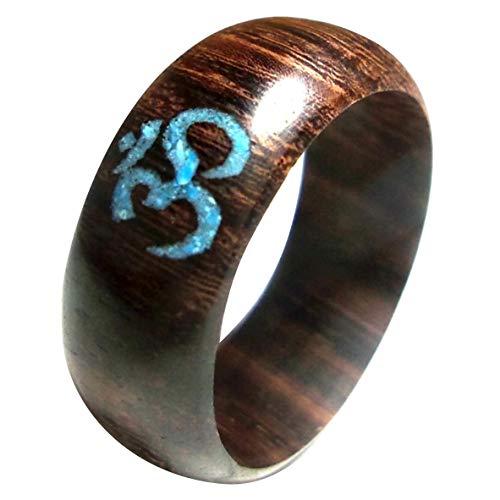 Chic-Net Damen Herren Finger Schmuck Ringe aus Sonoholz Holz und Crushed Türkis Stein mit Om in Dunkelbraun 55 (17.5)