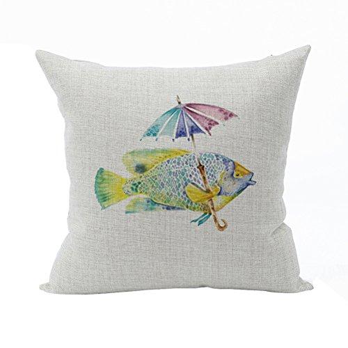 Nunubee Tier Dekokissen Haus Dekoration weich Quadrat Sofa Kissen Kissenbezug Multicolor Fisch - Multi Color Kissen