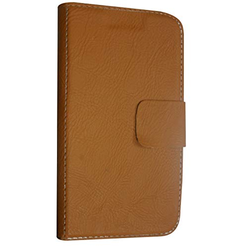 BKDT Marketing Premium Leather Touch Feel Flip Cover for Panasonic P55 Novo with Digital Watch - Brown Pattern