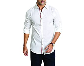 Rodid Men's Solid Casual White Shirt (B-RODSWOP-W-M)