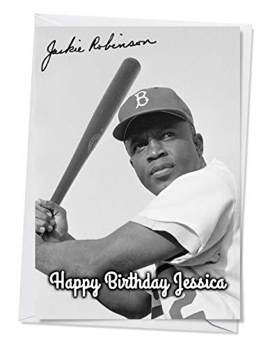 Jackie Robinson 1 - Autogramm-Grußkarte für jeden Anlass (Geburtstag, Weihnachten usw.) - Personalisierung innen und außen erhältlich