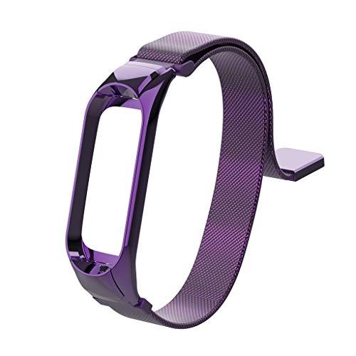 Bibao - Correa de Repuesto para Pulsera Xiaomi Mi Band 3, Correa de Reloj de Acero Inoxidable milanés con Cierre magnético (7,8 x 0,83 x 0,63 Pulgadas), Color Morado