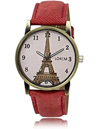 CATIVE™ Analogue Exclusive Stylish Sport Look Royal White Dial and Red Leather BeltWatch for Women Men's & Boys - New Latest Edition Made in India