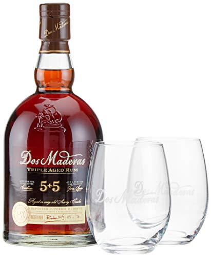 Dos Maderas PX 5+5 Years Old Aged Rum mit Geschenkverpackung mit 2 Gläsern (1 x 0.7 l) (Dos-farben)