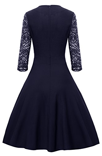 Gigileer Damen Kleider 3/4 Arm mit Spitzen Knielang Abendkleid Minikleid festlich Cocktail Party Navy M - 2