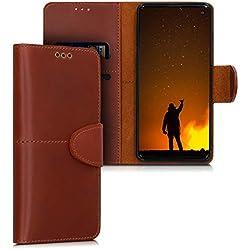 kalibri Étui Portefeuille pour Samsung Galaxy S10 en Cuir - Étui à Rabat Magnétique avec Support et Compartiment Cartes - Marron