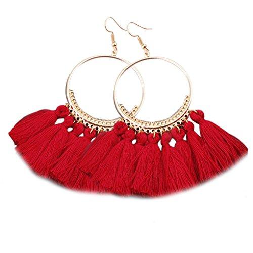 Arichtop 1 Paar Frauen Ethnische Böhmen Tropfen baumeln langes Seil Fringe Earings Mädchen Tassel Ohrring-Dame Fashion Bohe Schmuck