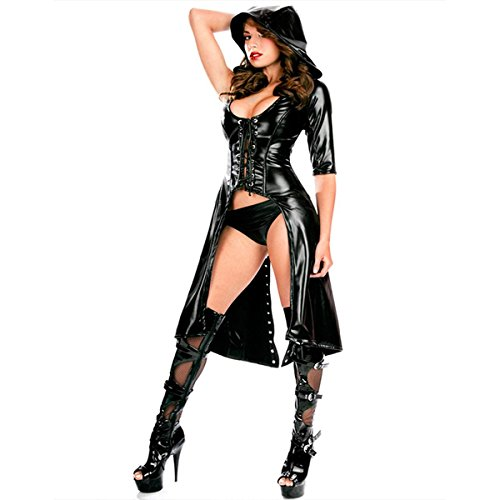 Ninja Latex Kostüm (Wondermiracle Damen Latex Jumpsuit Faux Leder Halloween Cosplay Kostüm PVC Overall)
