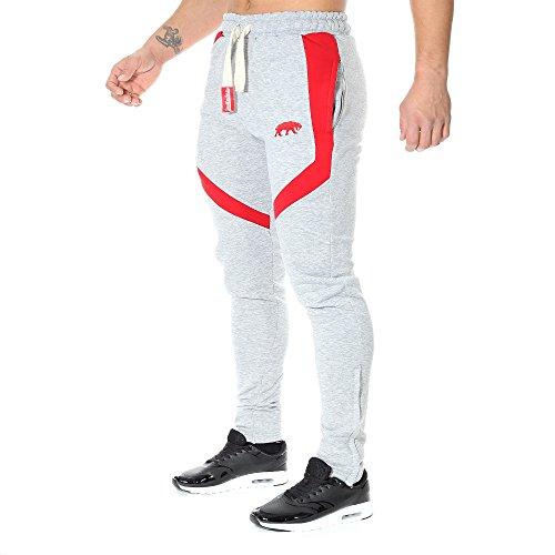 SMILODOX Slim Fit Herren Jogginghose 'Sky 2.0'| Trainingshose für Sport Fitness Gym Training | Sporthose - Jogger Pants - Sweatpants Hosen - Freizeithose Lang Grau/Rot
